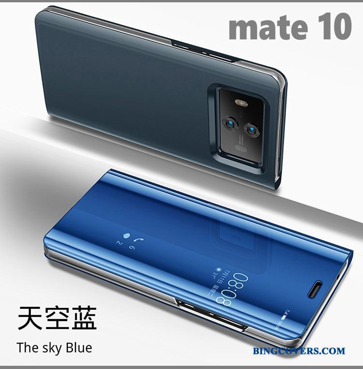 Huawei Mate 10 Support Spejl Folio Sort Lædertaske Telefon