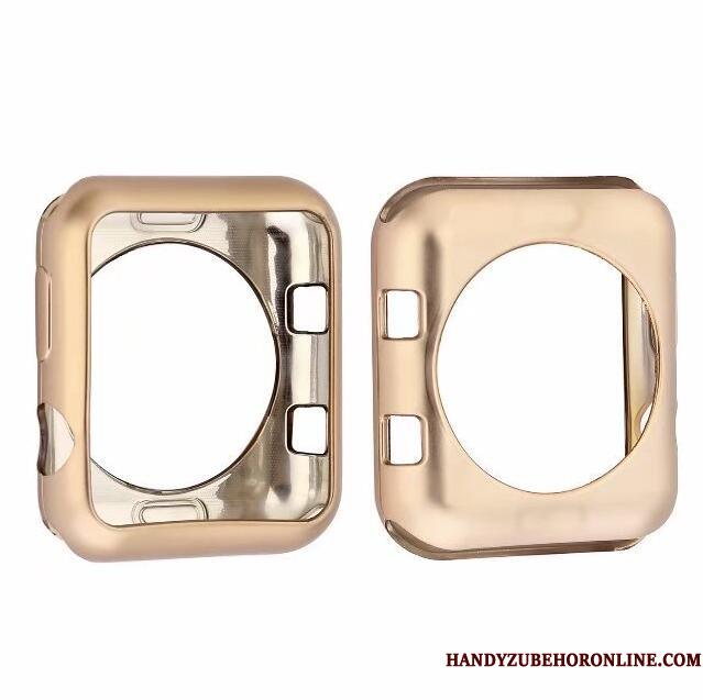Apple Watch Series 3 Beskyttelse Guld Cover Pu Silikone Blød Etui