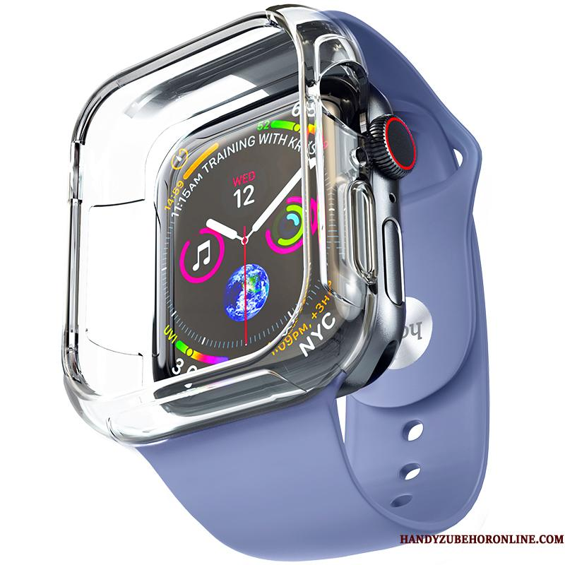 Apple Watch Series 5 Etui Alt Inklusive Belægning Cover Blød Blå Trend Silikone