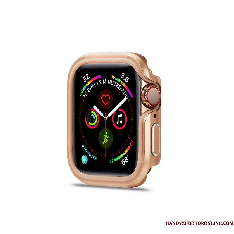 Apple Watch Series 5 Metal Ramme Pu Guld Etui Legering Cover