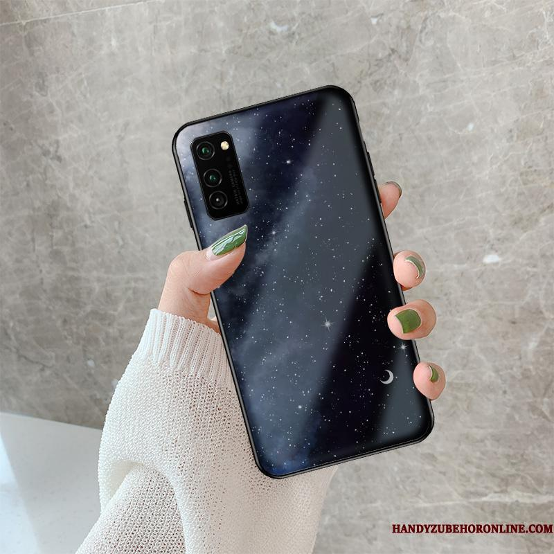 Honor View30 Pro Glas Tynd Simple Cartoon Etui Sort Telefon