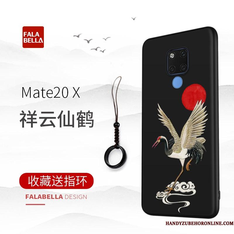 Huawei Mate 20 X Autentiske High End Tynd Cover Telefon Etui Beskyttelse Sort