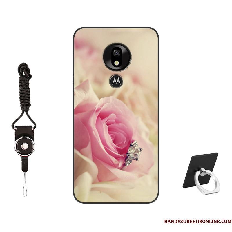 Moto G7 Power Mobiltelefon Silikone Simple Cover Anti-fald Telefon Etui Lyserød