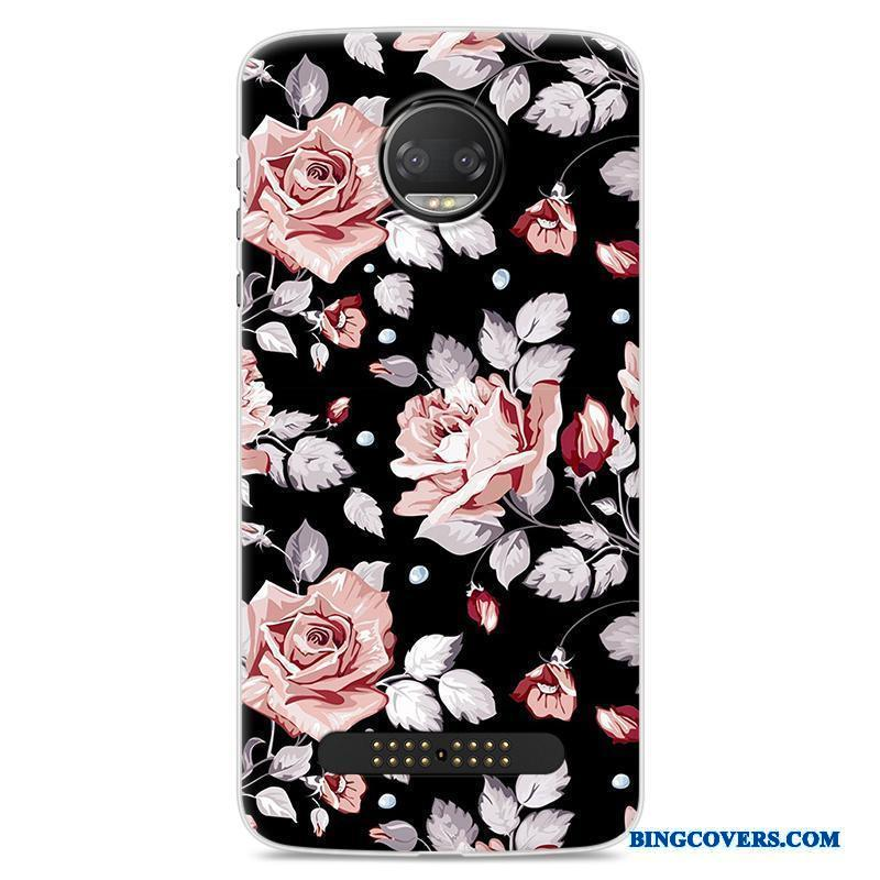Moto Z2 Force Edition Cartoon Cover Sort Blomster Blød Telefon Etui Beskyttelse