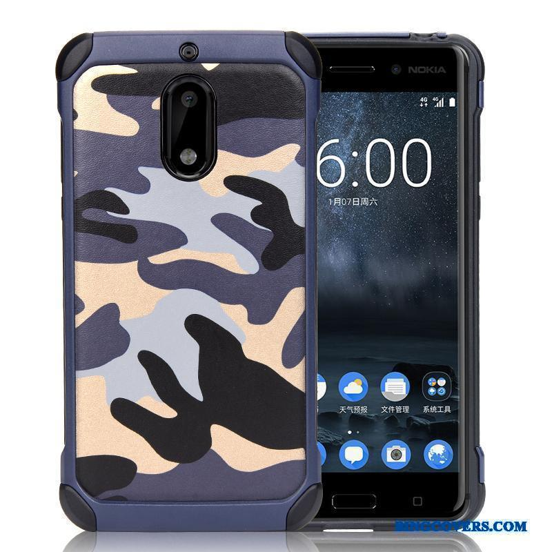 Nokia 6 Camouflage Cover Telefon Etui Support Anti-fald Silikone Ring