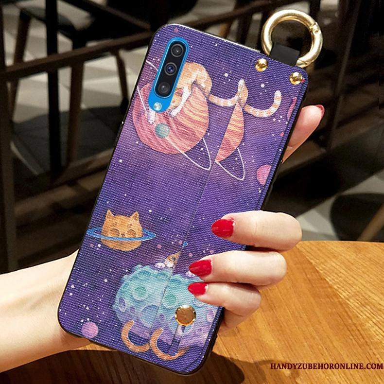 Samsung Galaxy A50 Telefon Etui Lille Sektion Lilla Cartoon Cover Silikone Anti-fald