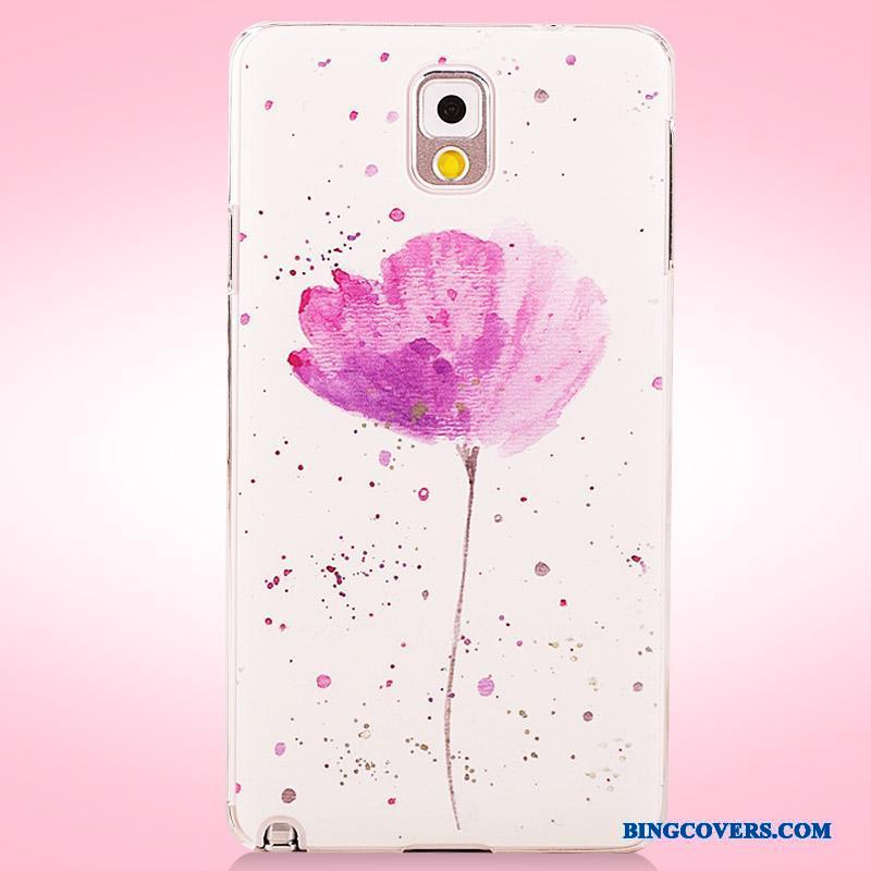 Samsung Galaxy Note 3 Malet Blomster Stjerne Lilla Telefon Etui Anti-fald Cover