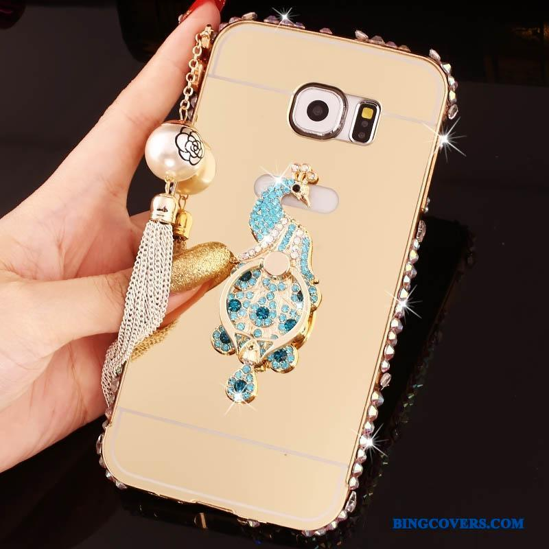 Samsung Galaxy S6 Edge + Etui Ramme Stjerne Alt Inklusive Guld Ring Strass Cover
