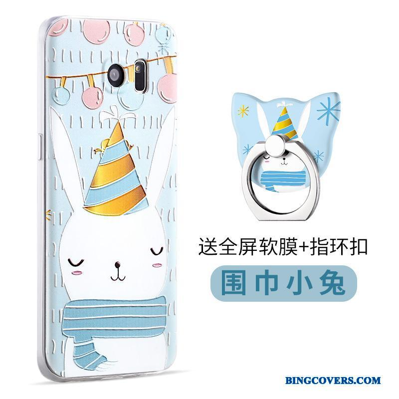 Samsung Galaxy S7 Edge Etui Relief Cover Stjerne Cartoon Support Silikone Lyseblå