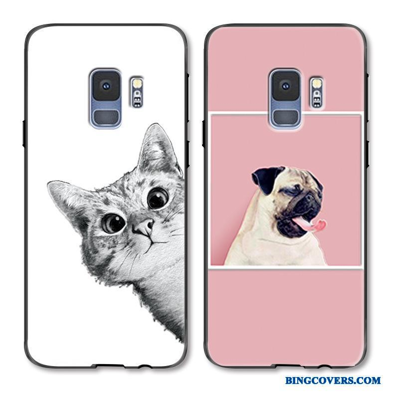 Samsung Galaxy S9+ Cartoon Malet Cover Relief Lyserød Smuk Telefon Etui