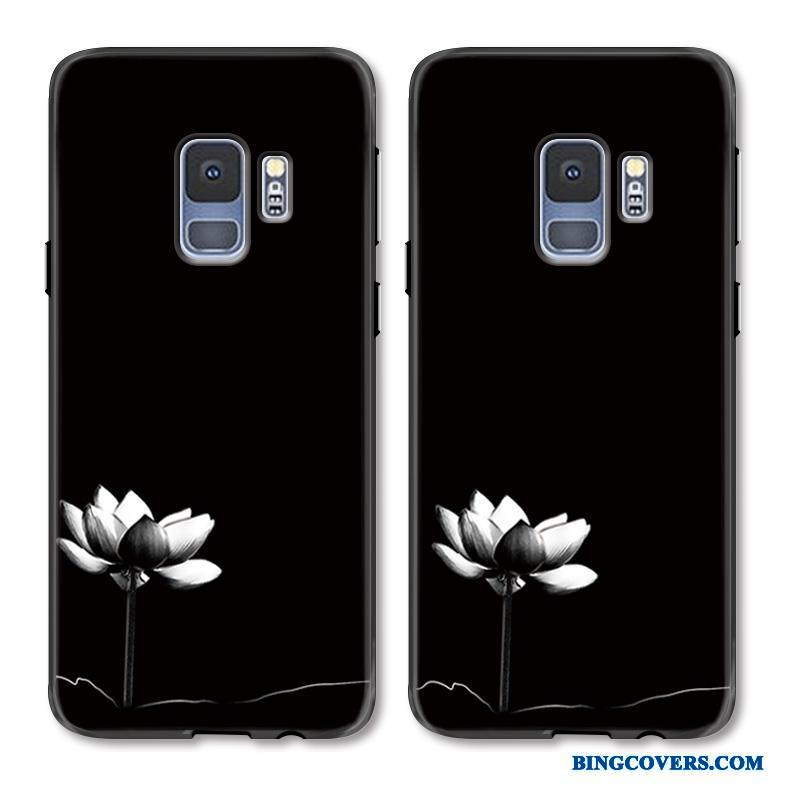 Samsung Galaxy S9+ Hvid Simple Telefon Etui Kunst Cover Relief Hængende Ornamenter