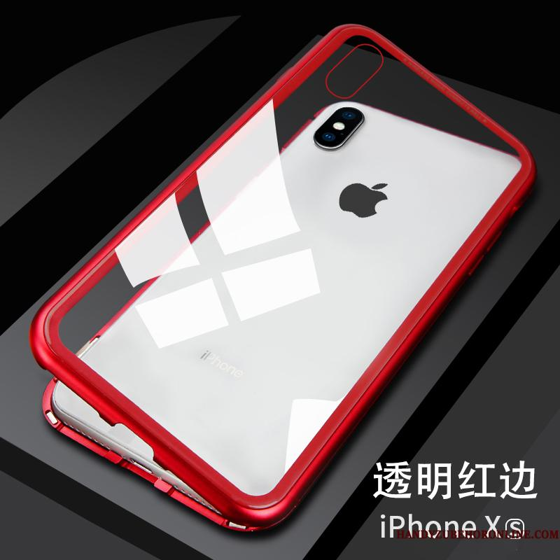 iPhone Xs Cover Telefon Etui Elskeren Metal Net Red Gennemsigtig Ny