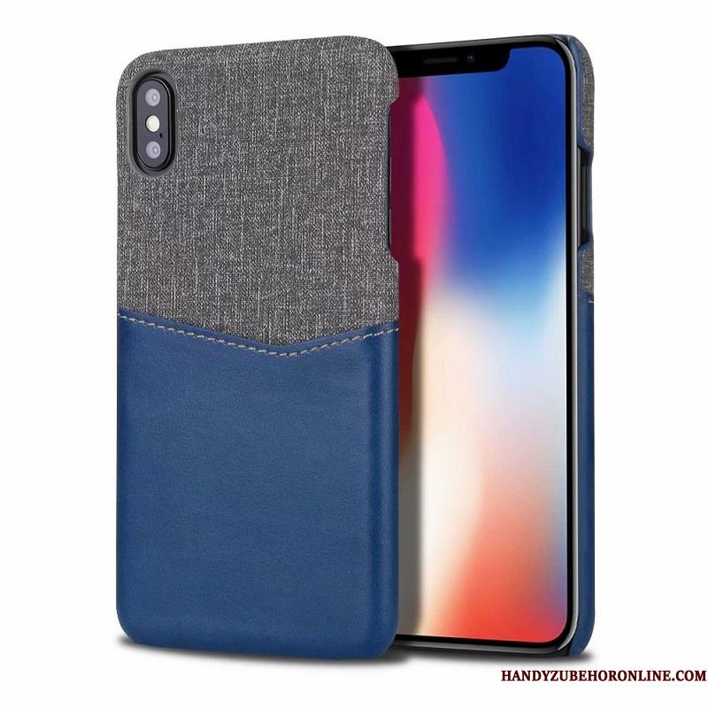 iPhone Xs Max Etui Blå Mode Klud Bicolored Cover Trend Mønster